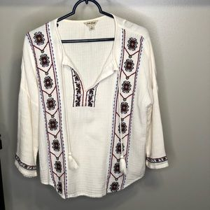Lucky Brand White Long Sleeve Blouse with Tassels